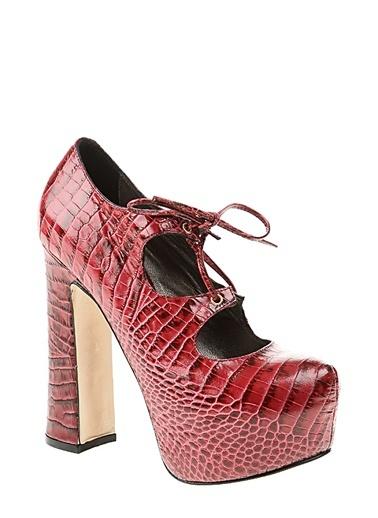 Deri Platform Topuklu Ayakkabı Divarese